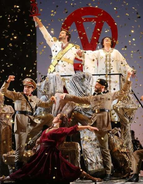 Brian Jagde (Radames) and Ekaterina Semenchuk (Amneris) during a dress rehearsal for San Francisco Opera's Aida in San Francisco, Calif., on Wednesday, November 2, 2016. Photo: Scott Strazzante, The Chronicle
