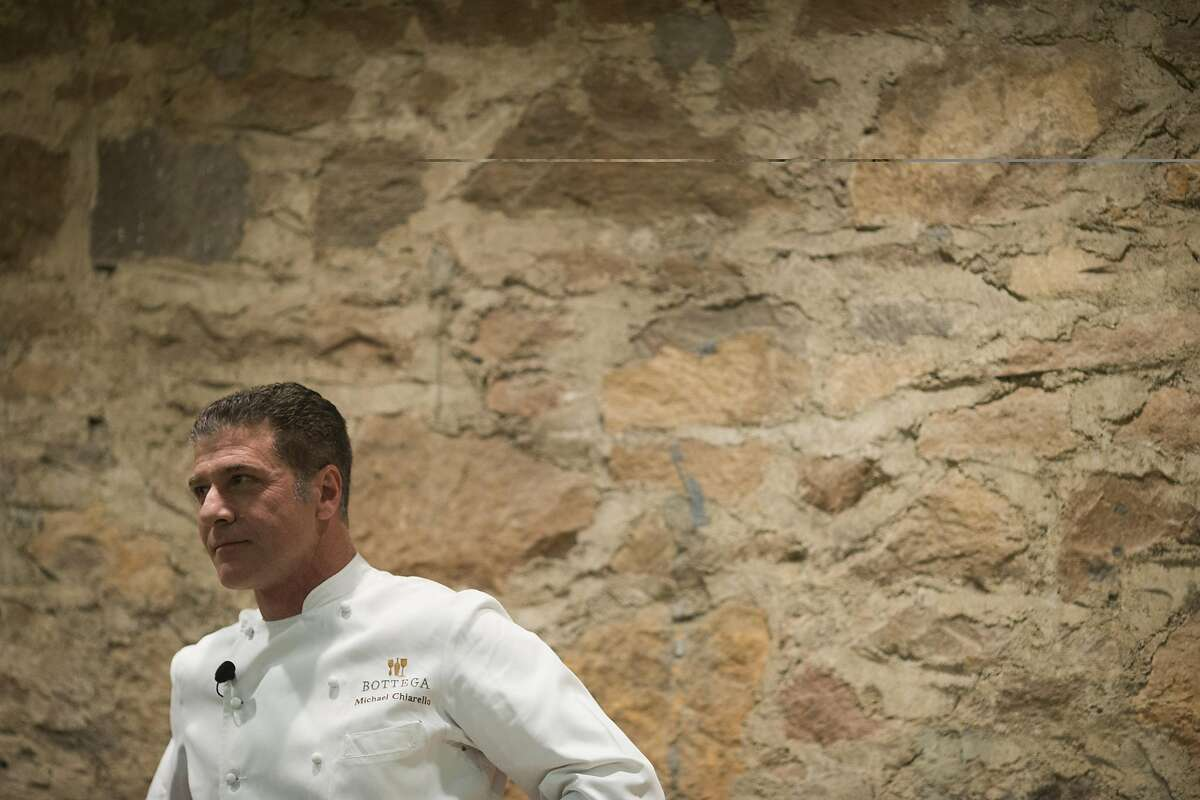 Chef Michael Chiarello stands while participating in a culinary demonstration during Flavor! Napa Valley at the Culinary Institute of America at Greystone in St. Helena, Calif. on Saturday, Nov. 23, 2013.