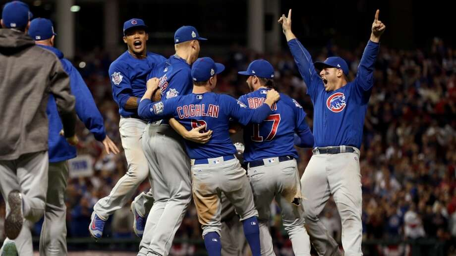 Addison Russell #27, Ryand Dempster, Chris Coghlan #8, Kris Bryant #17 and Anthony Rizzo #44 of the Chicago Cubs celebrate after winning Game 7 of the 2016 World Series against the Cleveland Indians at Progressive Field on Wednesday, November 2, 2016 in Cleveland.See below or the best memes from Game 7 of the 2016 World Series ... Photo: Brad Mangin | Getty Images