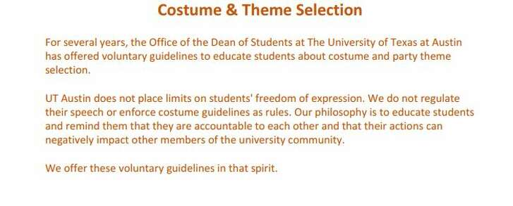Here's the opening page of a three-page handout giving University of Texas students guidance on costumes and themes to select for Halloween 2016 and other events (received by email from J.B. Bird, UT-Austin).