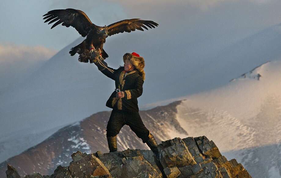 Aisholopan, a 13-year-old Kazakh girl, trains to become the first female in her family to be an eagle hunter (that is, one who uses a trained eagle in hunting). Photo: Sony Classics