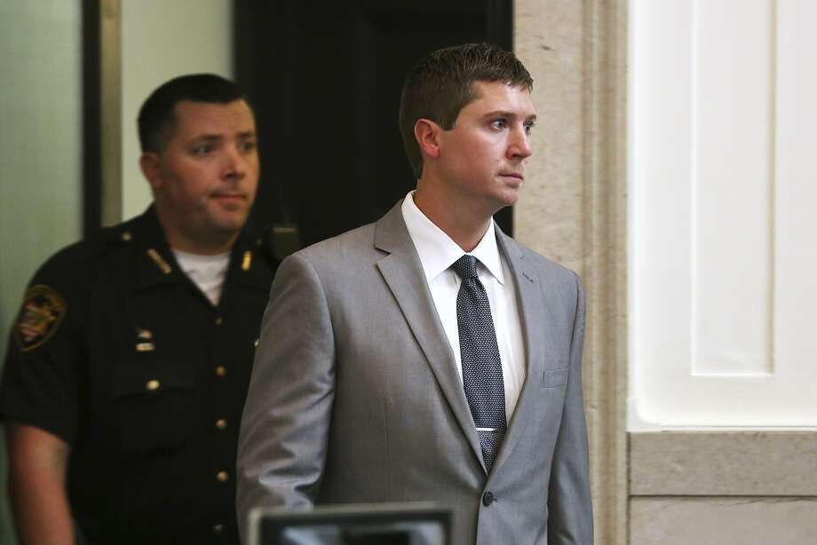 Ray Tensing enters a Cincinnati courtroom. He is charged with murder and voluntary manslaughter for the 2015 shooting of Sam DuBose after a traffic stop over a license plate. Photo: Carrie Cochran, Associated Press