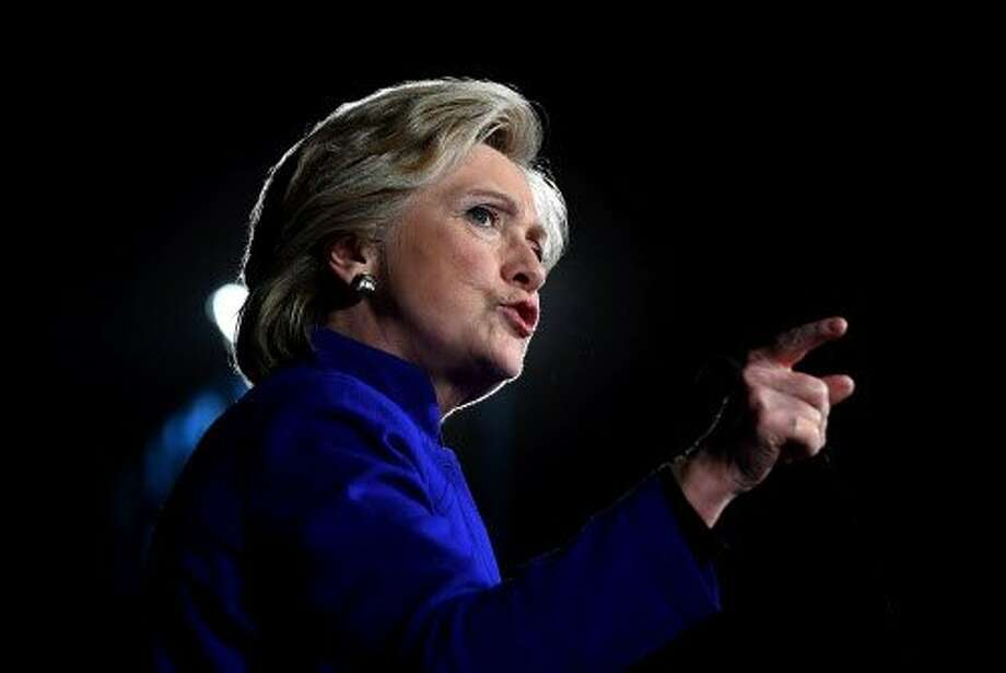 US Democratic presidential nominee Hillary Clinton speaks during a campaign rally in Tempe, Ariz. Photo: JEWEL SAMAD, AFP/Getty Images