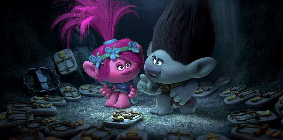 "This image released by Dreamworks Animation shows characters Poppy, left, voiced by Anna Kendrick, and Branch, voiced by Justin Timberlake in a scene from ""Trolls."" (DreamWorks Animation via AP) ORG XMIT: NYET154 Photo: DreamWorks Animation / DreamWorks Trolls © 2016 DreamWorks Animation LLC. All Rights Re"