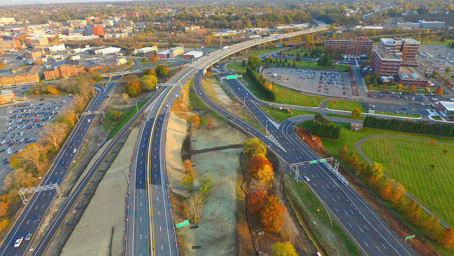 Areal view of the I-890 Exit 4 interchange and General Electric, right, on Wednesday, Nov. 2, 2016, in Schenectady, N.Y. The $4.6 million project to reconfigure the interchange will improve traffic flow at the interchange by removing the inner loop of the existing two-loop interchange, and by constructing new ramps to connect the outer loop to I-890. (Kevin P. Coughlin/Office of Governor Andrew M. Cuomo) / ©2016 Kevin P. Coughlin