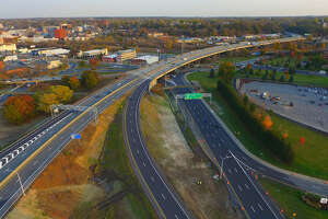 Areal view of the I-890 Exit 4 interchange on Wednesday, Nov. 2, 2016, in Schenectady, N.Y. The $4.6 million project to reconfigure the interchange will improve traffic flow at the interchange by removing the inner loop of the existing two-loop interchange, and by constructing new ramps to connect the outer loop to I-890. (Kevin P. Coughlin/Office of Governor Andrew M. Cuomo)