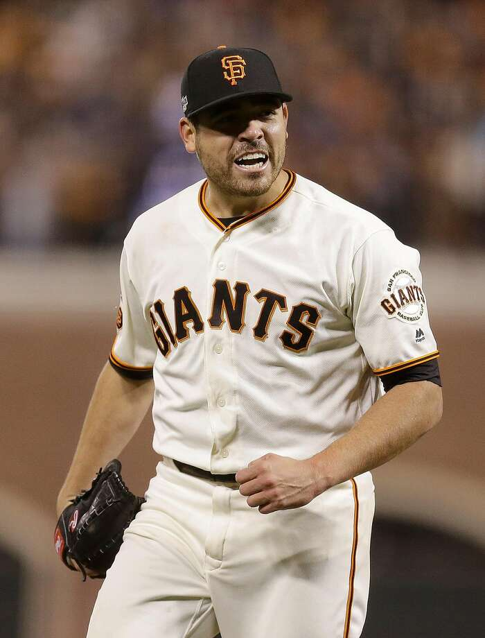 San Francisco Giants pitcher Matt Moore reacts after striking out Chicago Cubs' Dexter Fowler during the eighth inning of Game 4 of baseball's National League Division Series in San Francisco, Tuesday, Oct. 11, 2016. (AP Photo/Ben Margot) Photo: Ben Margot, Associated Press