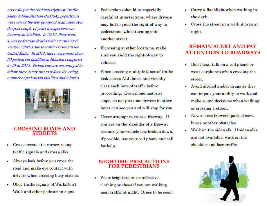 Pedestrian safety tips from the Houston Police Department.