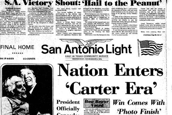 The San Antonio Light front page coverage of the Nov. 3, 1976, general election.