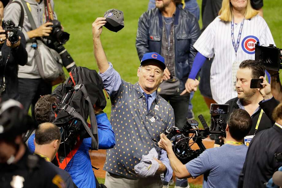 CLEVELAND, OH - NOVEMBER 02:  Actor Bill Murray reacts on the field after the Chicago Cubs defeated the Cleveland Indians 8-7 in Game Seven of the 2016 World Series at Progressive Field on November 2, 2016 in Cleveland, Ohio. The Cubs win their first World Series in 108 years.  (Photo by Jamie Squire/Getty Images) Photo: Jamie Squire, Getty Images
