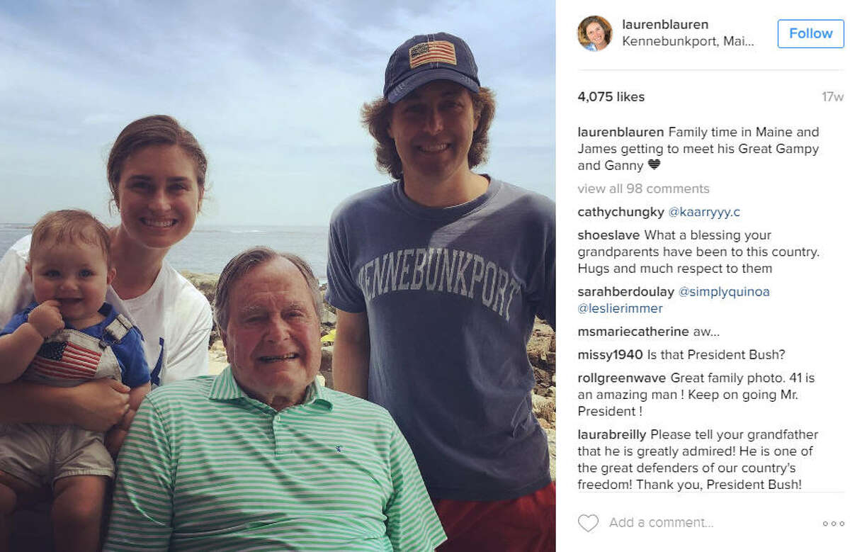 Lauren Bush Lauren of the Bush family with son and husband- oh yeah and former President George H.W. Bush. Photo posted in July 2016. Source: Instagram