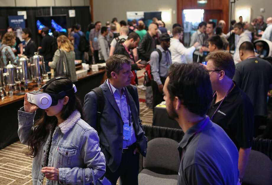 Attendees and exhibitors at the Virtual Reality Developers Conference on Thursday, Oct 3, 2016 in San Francisco, Calif. Photo: Amy Osborne, Special To The Chronicle