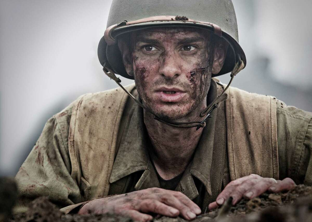 Andrew Garfield as Desmond Doss in a scene from the movie