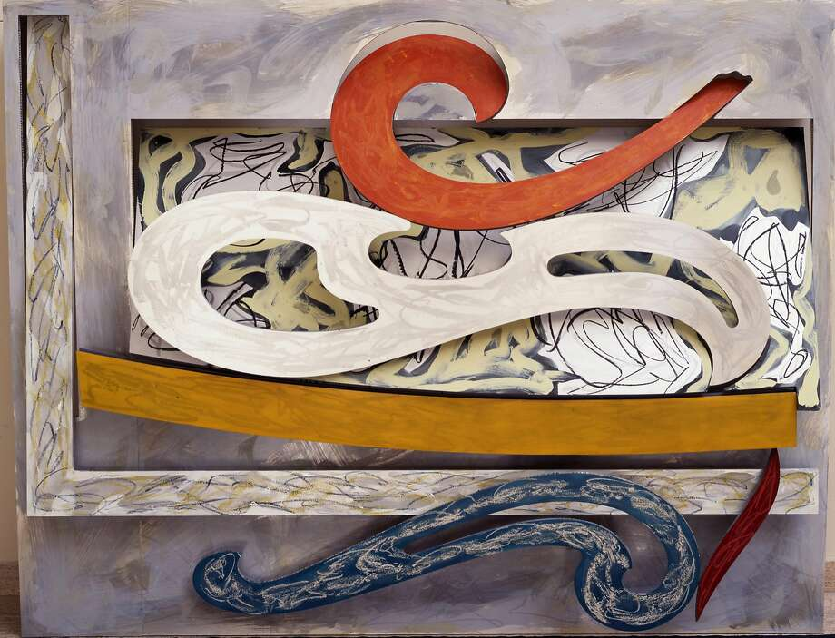 "Frank Stella, ""Eskimo Curlew"" (1976). Litho crayon, etching, lacquer, ink, glass, acrylic paint, and oilstick on aluminum, 98 3/4 x 127 inches. A work in ""Frank Stella: A Retrospective,"" at the de Young Museum through Feb. 26, 2017 Photo: � 2016 Frank Stella / Artists Rights Society (ARS), New York"