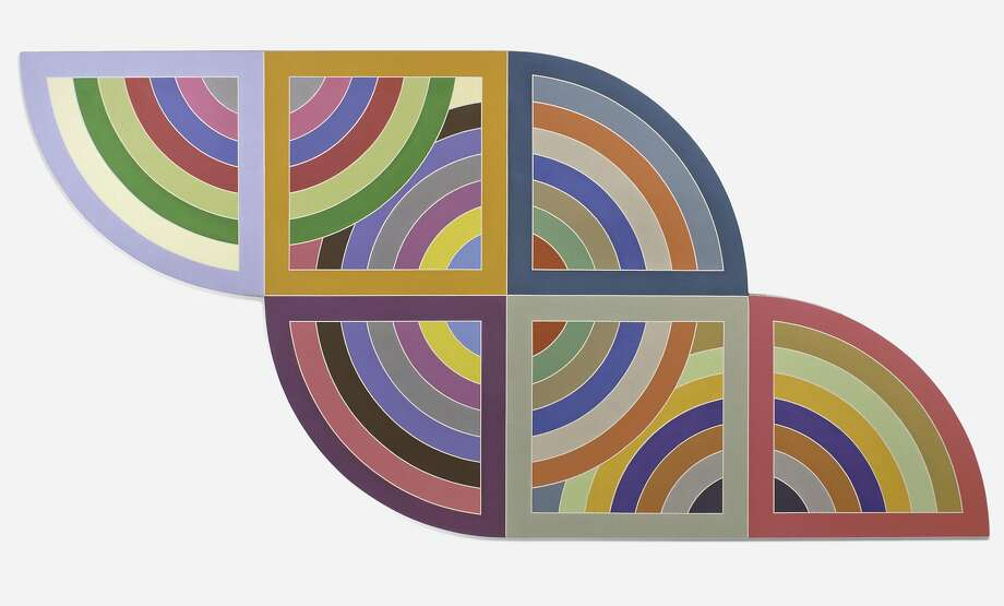 "Frank Stella, ""Harran II"" (1967). Polymer and fluorescent polymer paint on canvas, 10 x 10 feeet. A work in ""Frank Stella: A Retrospective,"" at the de Young Museum through Feb. 26, 2017 Photo: � 2016 Frank Stella / Artists Rights Society (ARS), New York"