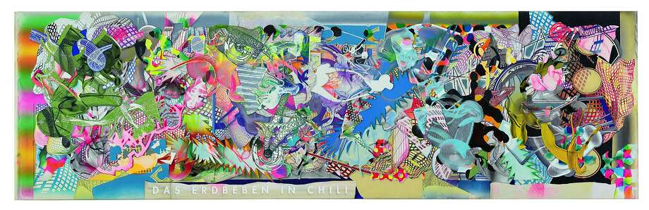 "Frank Stella, ""Das Erdbeben in Chili [N#3] (The Earthquake in Chile)"" (1999). Acrylic on canvas, 144 x 486 inches. A work in ""Frank Stella: A Retrospective"" at the de Young Museum. Photo: � 2016 Frank Stella / Artists Rights Society (ARS), New York"