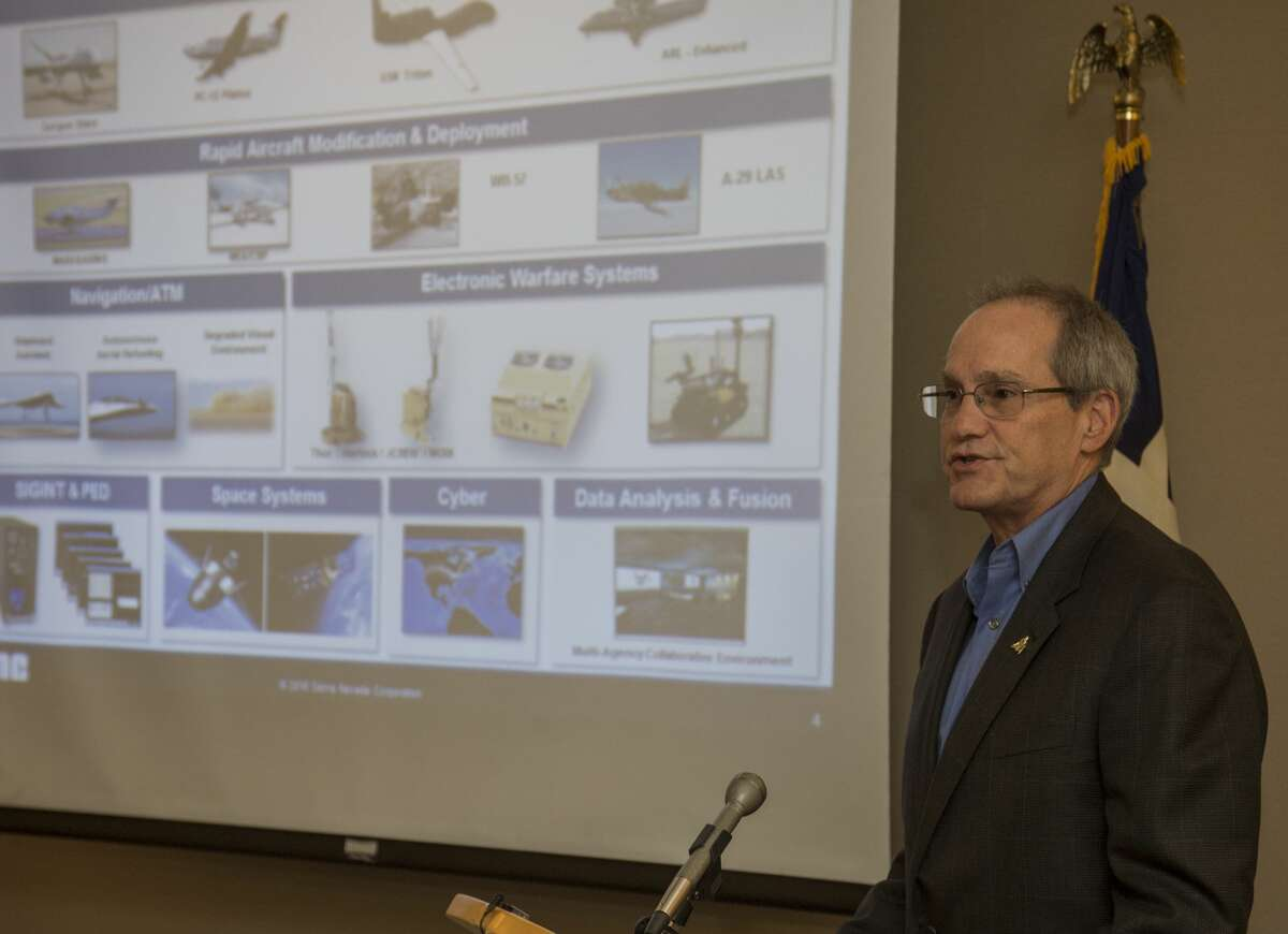 John Roth, vp of Busiess Development with Sierra Nevada Corporation, gives some background on the company Thursday 11-3-16 during the announcement the Midland Air and Space Port has been selected as the first Dream Chaser spacecraft landing site. Tim Fischer/Reporter-Telegram
