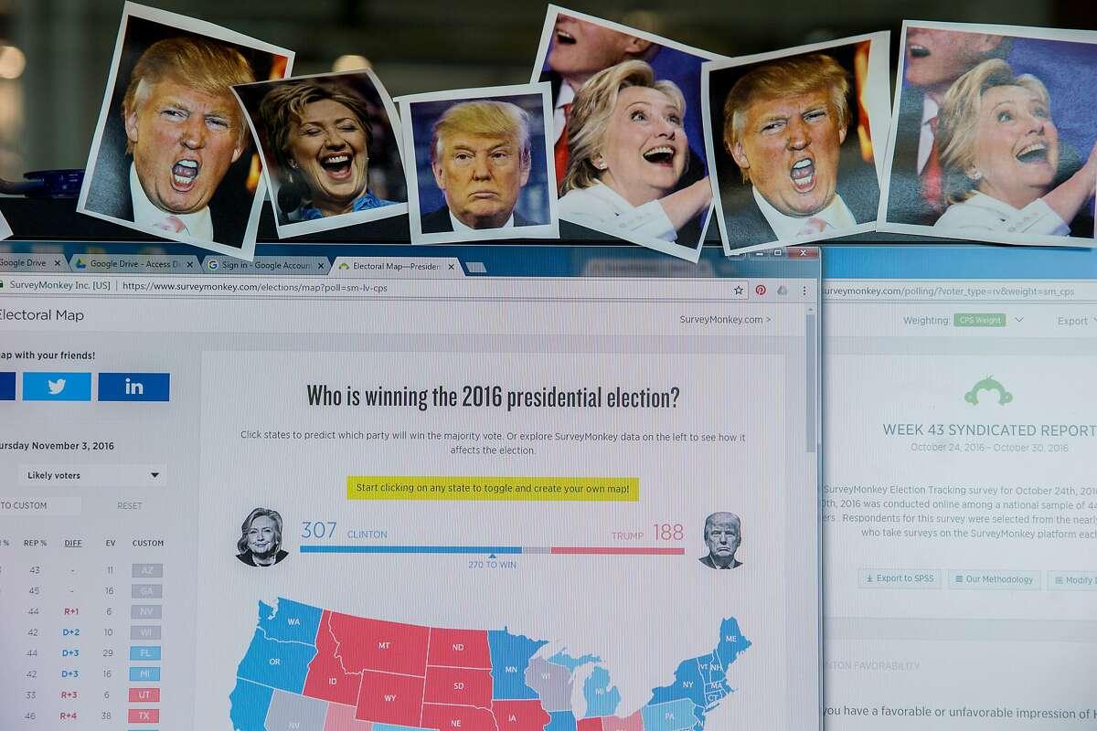 A SurveyMonkey poll, on Thursday, Nov. 3, 2016 in Palo Alto, Calif.