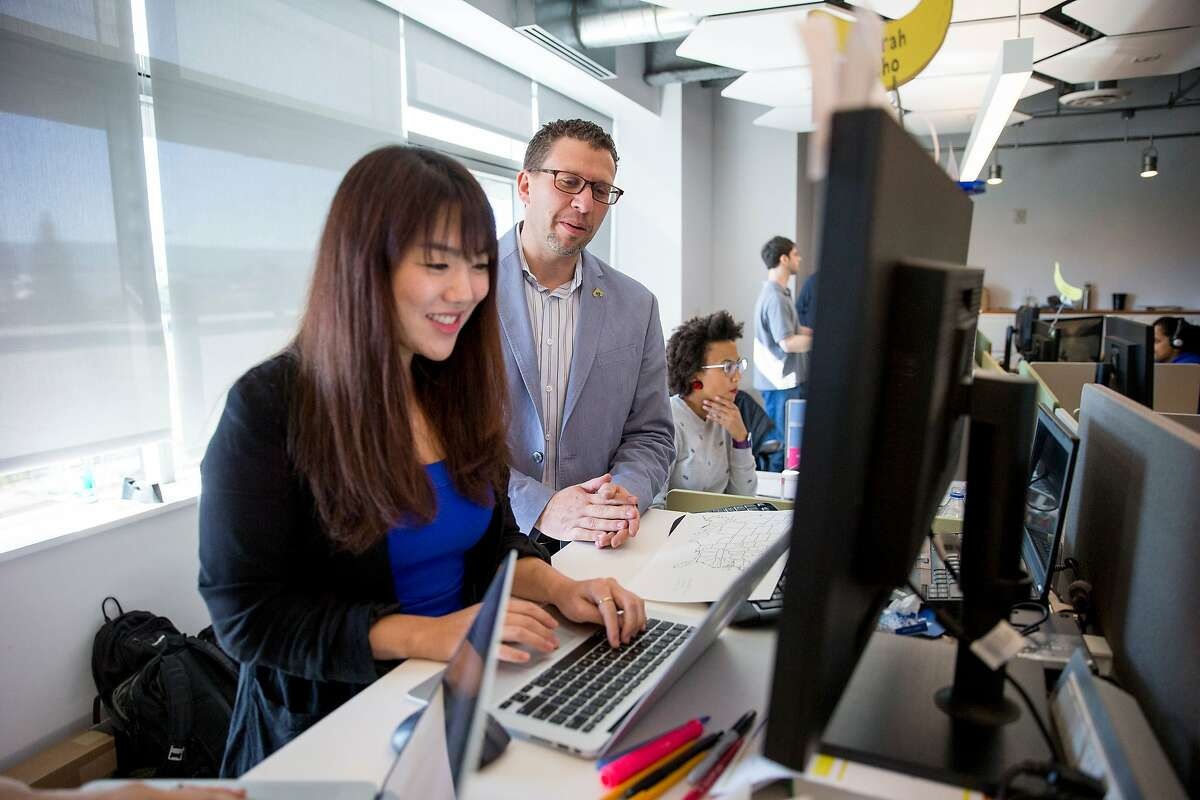 From left: Sarah Cho and Jon Cohen at SurveyMonkey, on Thursday, Nov. 3, 2016 in Palo Alto, Calif. Cohen is the chief research officer at SurveyMonkey. Cho is the director of research and Cohen is the chief research officer at SurveyMonkey.