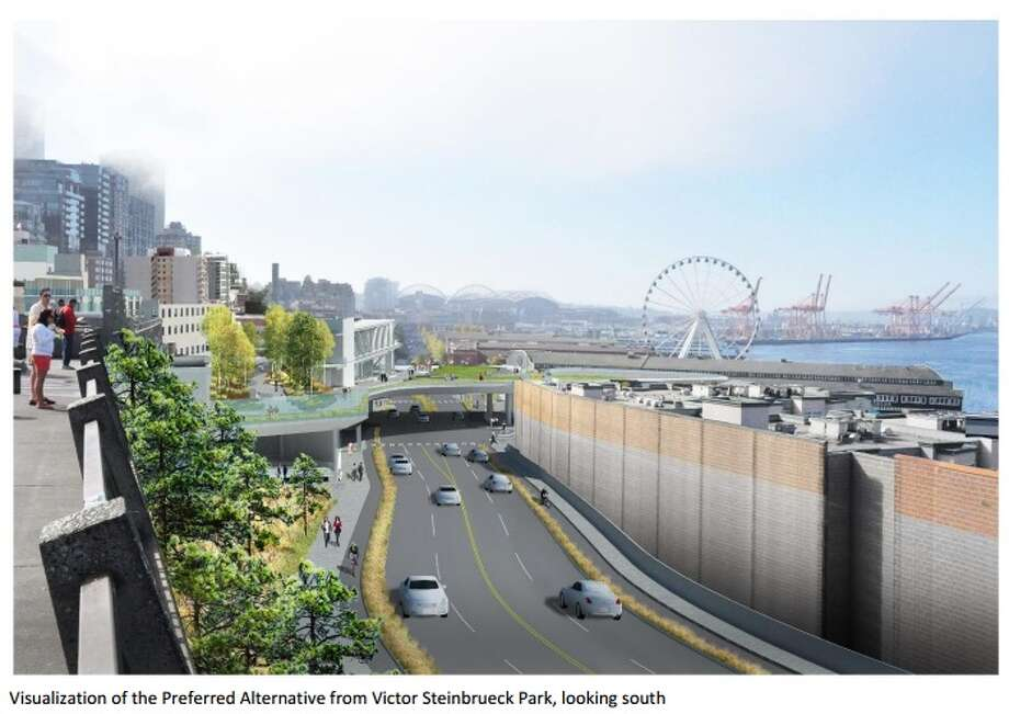 A rendered view from the overlook that would be a part of the rebuilt waterfront after the Alaskan Way Viaduct is torn down. Photo: Waterfront Seattle Final EIS