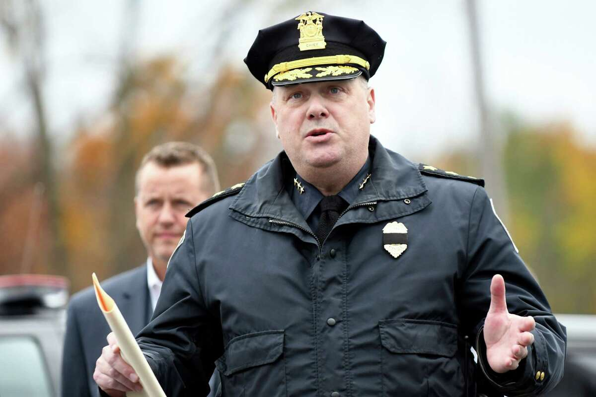 Colonie Police Chief Jon Teale, center, speaks during a news conference to unveil a streetscape to be used in training police and other responders on Thursday, Nov 3, 2016, at Colonie Municipal Training Center in Latham, N.Y. At left is Sheriff Craig Apple. (Cindy Schultz / Times Union)