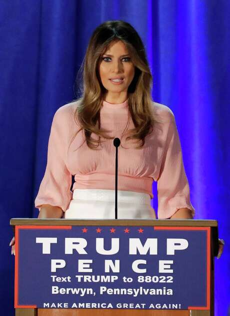 Melania Trump, speak-ing in Berwyn, Pa., on Thursday, is trying to sway those wary of the GOP nominee. Photo: Patrick Semansky, STF / Copyright 2016 The Associated Press. All rights reserved.