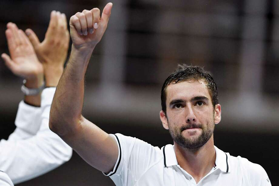 "Croatia's Marin Cilic reacts after winning against France's Richard Gasquet during the Davis Cup World Group semifinal singles tennis match between Croatia and France at ""Kresimir Cosic"" hall in Zadar, on September 18, 2016. / AFP PHOTO / ANDREJ ISAKOVICANDREJ ISAKOVIC/AFP/Getty Images Photo: ANDREJ ISAKOVIC / AFP or licensors"