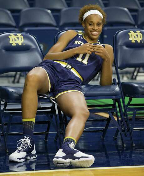Brianna Turner (11) relaxes between interviews during Notre Dame's NCAA basketball media day, Monday, Oct. 17, 2016, inside the Purcell Pavilion at Notre Dame in South Bend, Ind. (Robert Franklin/South Bend Tribune via AP) Photo: Robert Franklin, MBO / South Bend Tribune