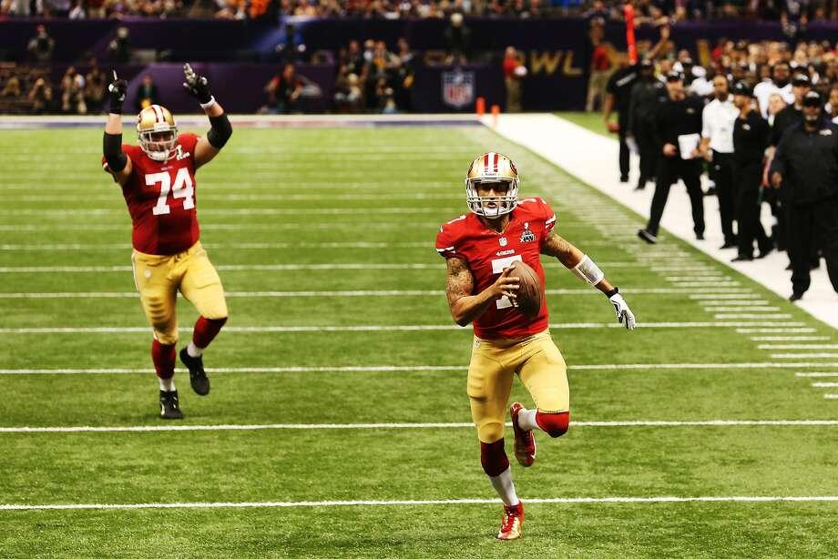 Joe Staley celebrates Colin Kaepernick's touchdown run in Super Bowl XLVII. Photo: Ronald Martinez, Getty Images