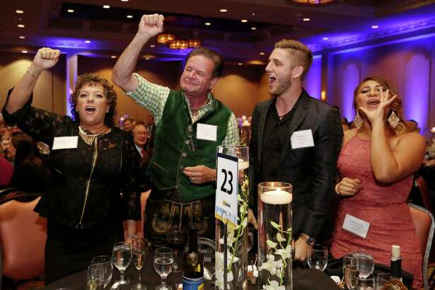 King's Biergarten & Restaurant representatives celebrate winning second runner up of Small Size Category of 2016 Top Workplaces Award at 2016 Top Workplaces Awards Thursday, Nov. 3, 2016, in Houston.