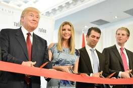 TORONTO, ON - APRIL 16:  Donald Trump, Ivanka Trump, Donald Trump Jr. and Eric Trump attend the Grand Opening Ribbon Cutting Ceremony at the Trump International Hotel and Tower Toronto on April 16, 2012 in Toronto. Canada.  (Photo by George Pimentel/WireImage)