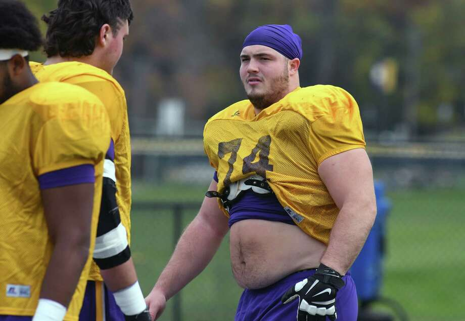 UAlbany football offensive lineman Adam Wierbinski during practice on Wednesday Nov. 2, 2016 in Albany, N.Y.  (Michael P. Farrell/Times Union) Photo: Michael P. Farrell / 20038635A