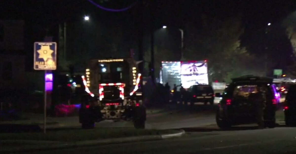 A man was take into custody about 11:20 p.m. Thursday, Nov. 3, 2016, after he barricaded himself in the cab of big rig in the 4900 block of Ella. (Metro Video)