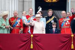 LONDON, ENGLAND - JUNE 13: (L-R) Camilla, Duchess of Cornwall, Prince Charles, Prince of Wales, Prince George of Cambridge, Prince William, Duke of Cambridge, Catherine, Duchess of Cambridge, Queen Elizabeth II, Prince Harry and Prince Philip, Duke of Edinburgh (R) watch the fly-past from the balcony of Buckingham Palace following the Trooping The Colour ceremony on June 13, 2015 in London, England. The ceremony is Queen Elizabeth II's annual birthday parade and dates back to the time of Charles II in the 17th Century, when the Colours of a regiment were used as a rallying point in battle. (Photo by Chris Jackson/Getty Images)
