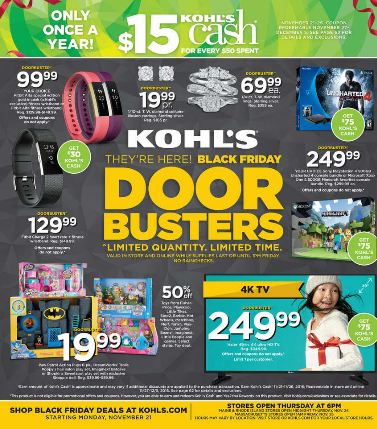 Kohl's has released its 62-page Black Friday 2016 ad circular. Prices and promotion are valid Monday, Nov. 21 through Friday, Nov. 25, 2016 and are subject to change and availability, based on the retailer's determination.