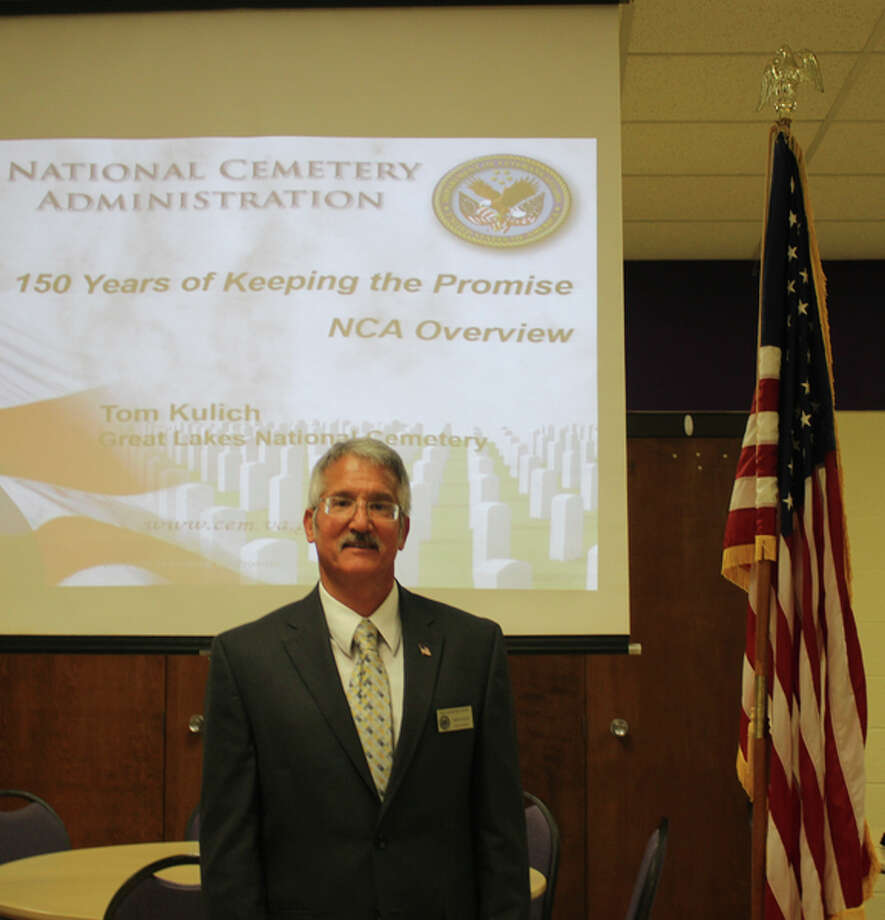 Photo provided Tom Kulich, assistant director of the Great Lakes National Cemetery in Holly, recently spoke to the Wilbur Thomas Lamphierd Chapter of The National Society of Daughters of the Union at the United Church of Christ