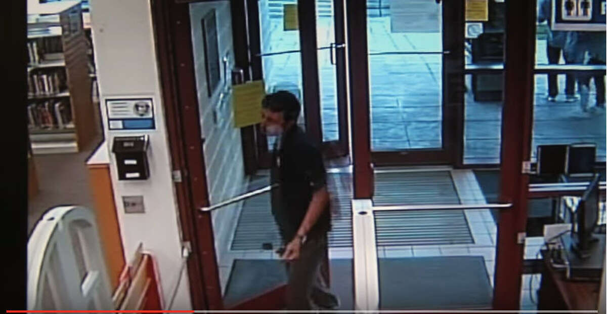 Surveillance images showed a possible suspect in the sexual assault of a boy in a library restroom in the 11300 block of Airline Drive in north Houston.