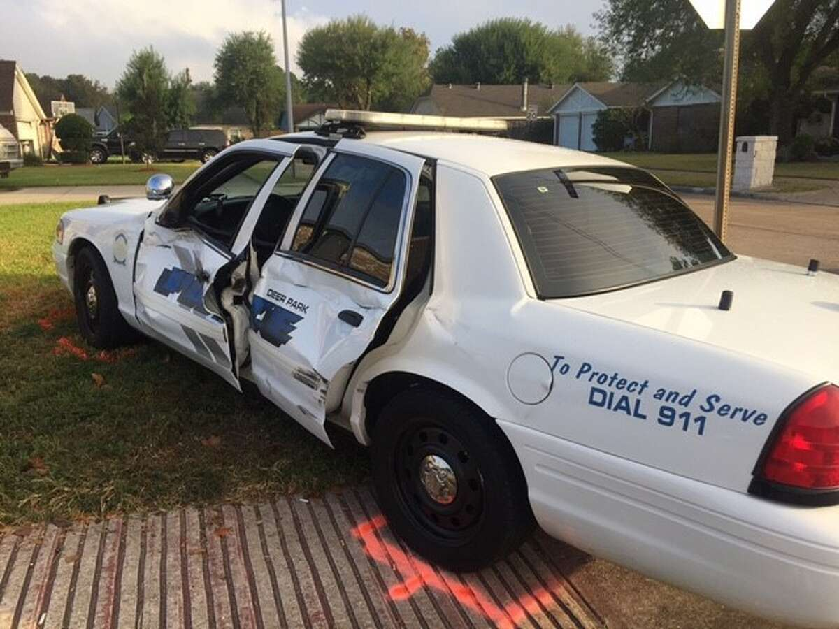 A Deer Park police officer was taken to the hospital in stable condition the morning of Friday, Nov. 4, 2016, after a Ford F-250 struck the driver's side of his patrol car.