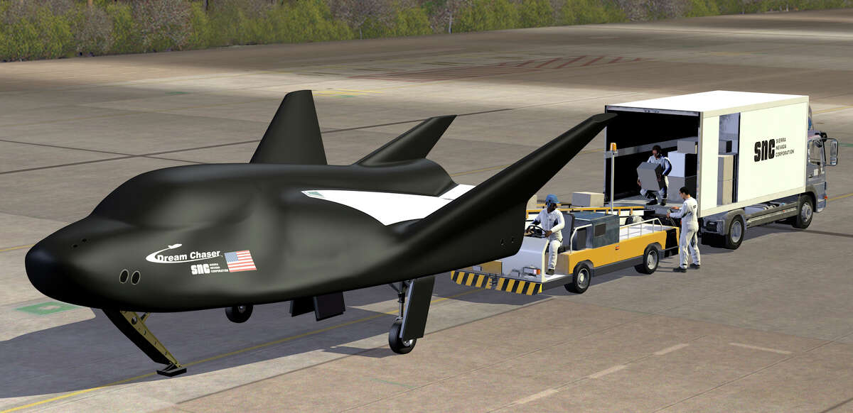 This 3-D rendering shows the Sierra Nevada Corp.'s Dream Chaser. It's an in-development space utility vehicle that is contracted by NASA to deliver payloads to and from the International Space Station beginning in 2020.