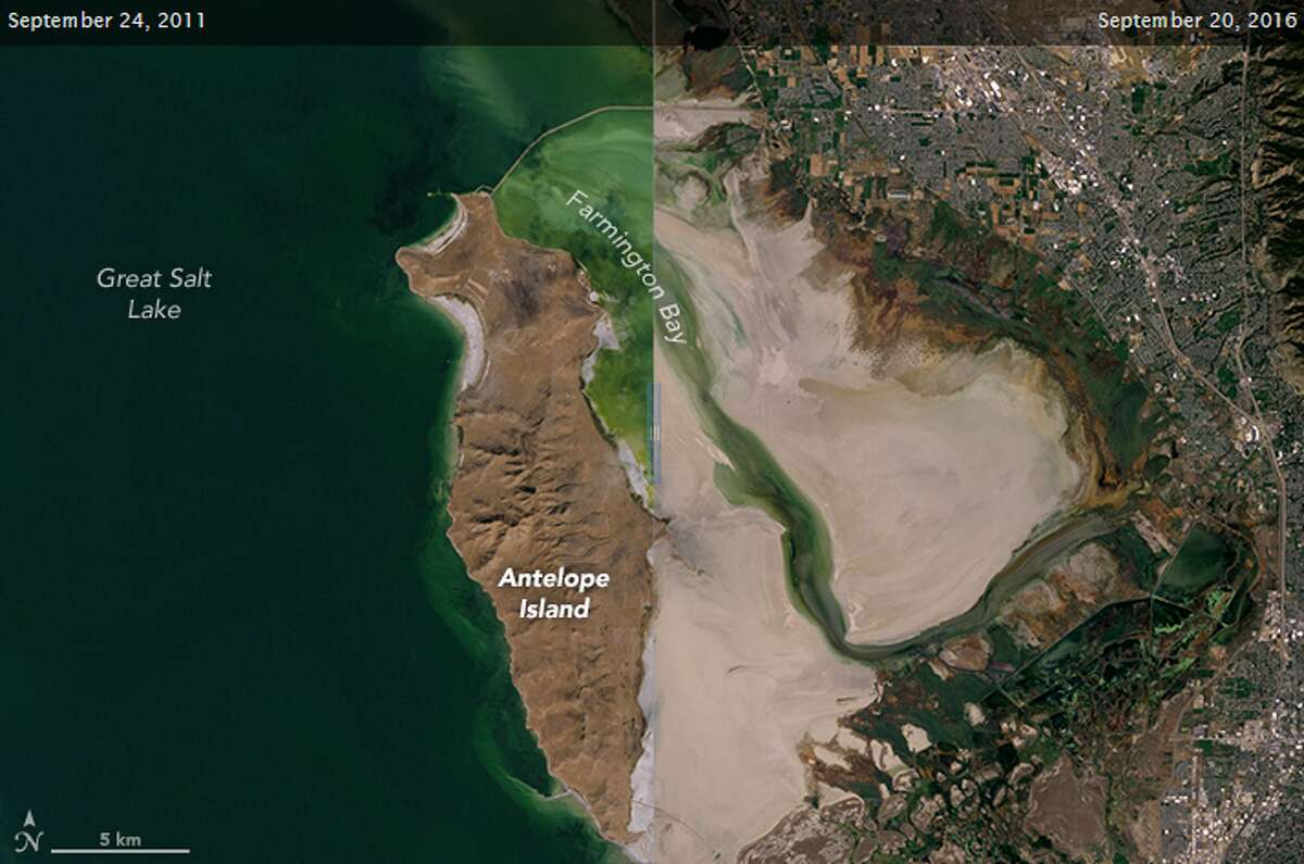 NASA recently released two before and after pictures, five years apart, showing the shrinking and drying of Utah's Great Salt Lake. Click through to viewharrowing climate change stats.