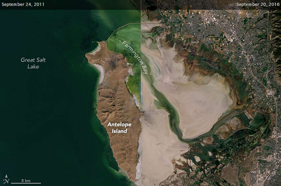 NASA recently released two before and after pictures, five years apart, showing the shrinking and drying of Utah's Great Salt Lake.Click through to viewharrowing climate change stats.