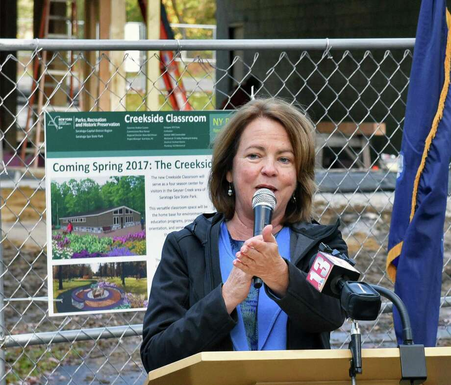 Saratoga-Capital Region Director of the New York State Office of Parks, Recreation and Historic Preservation Alane Ball Chinian speaks during ground breaking ceremonies for the new  Creekside Classroom in the Geyser Picnic Area at Saratoga Spa State Park Friday Nov. 4, 2016 in Saratoga Springs, NY. The facility will host enhanced educational, recreational and volunteer programming in the heart of the park. (John Carl D'Annibale / Times Union) Photo: John Carl D'Annibale / 20038689A