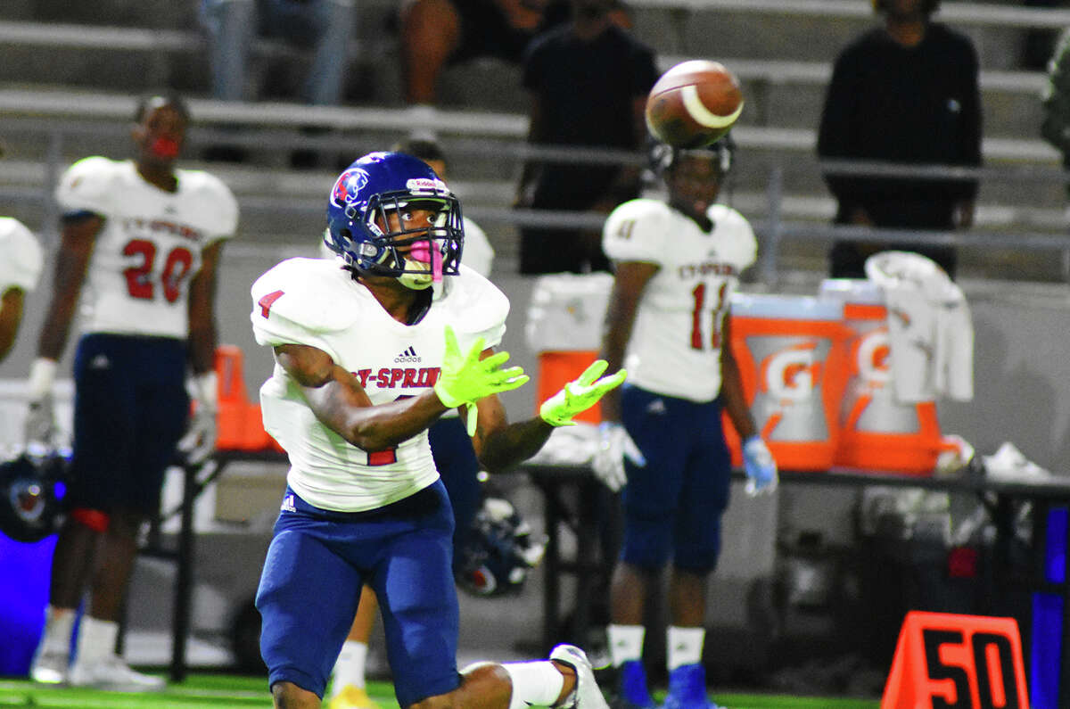 Cy Springs senior wide receiver O'Shae Clark on one of his six receptions against Cy Ridge Thursday night at Ken Pridgeon Stadium. Clark racked up 195 yards and two touchdowns, finishing the season with 1,731 yards receiving and 18 touchdowns.