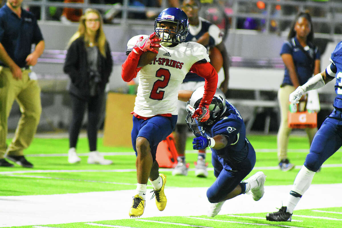 Cy Springs junior wide receiver Jah'marae Sheread shows off his speed after a catch Thursday. Sheread put up 191 yards and two touchdowns on 10 catches, finishing as one of three 17-6A wide receivers with more than 1,000 yards receiving.