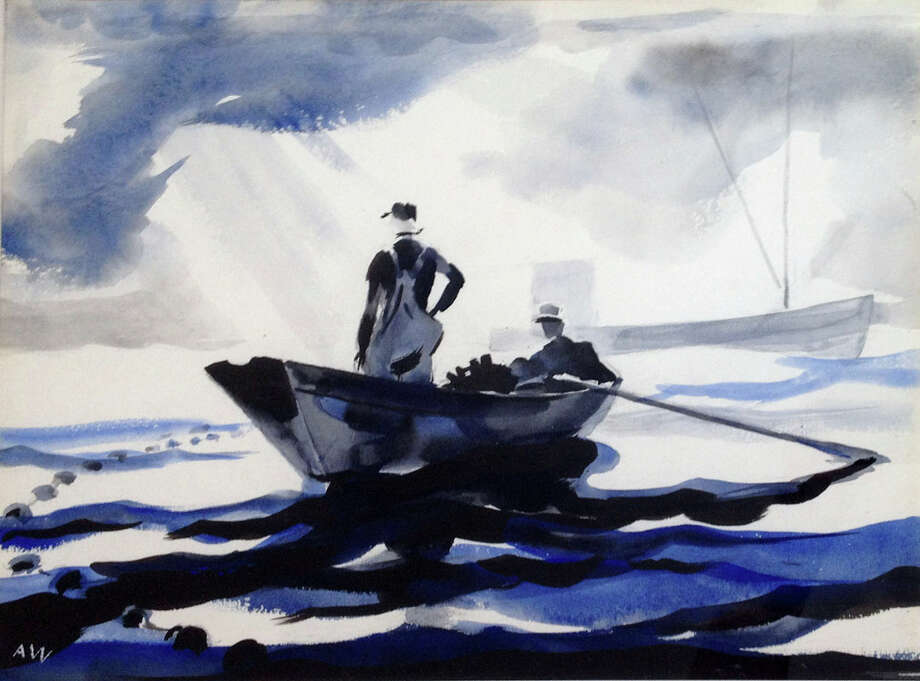 """Patrolling the Nets, by Andrew Wyeth Photo: Courtesy Of Roberto Freitas American Antiques And Decorative Arts"