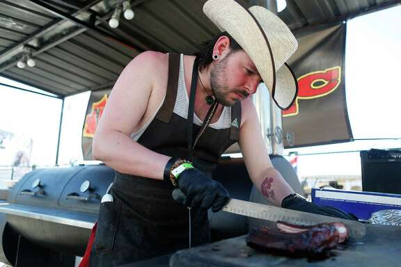 Briton John Beard, of Texas-style Red's True Barbecue, competed in the Houston Rodeo's 2015 World's Championship Bar-B-Que Contest.