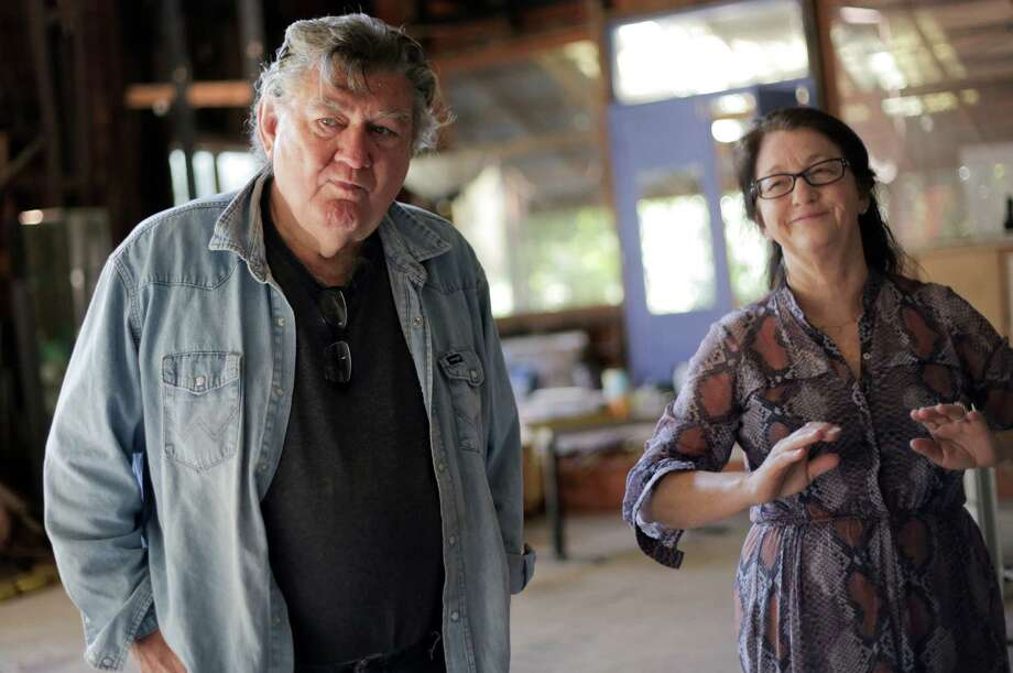 "Artists James Surls and Charmaine Locke, who are co-hosting ""Ulterior Motifs 15,"" a two-day ""celebratory Texas art extravaganza"" Nov. 12 and 13, at their historic art compound on Thursday, Oct. 27, 2016, in Cleveland. ( Elizabeth Conley / Houston Chronicle ) Photo: Elizabeth Conley, Staff / © 2016 Houston Chronicle"