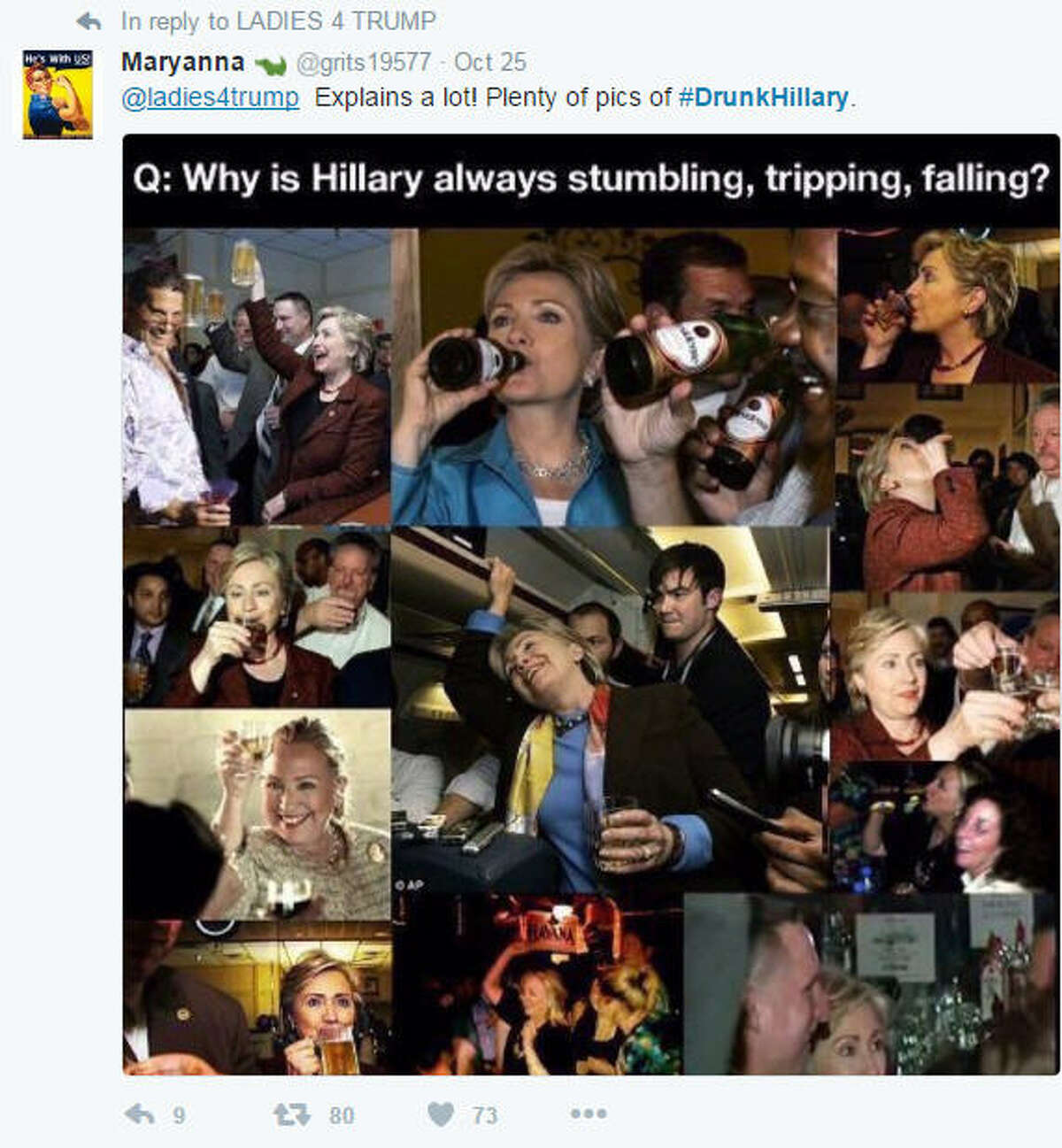 The Twitter hashtag #DrunkHillary, referring to presidential candidate Hillary Clinton, began circulating in late October 2016, particularly among supporters of her opponent, Donald Trump. (Photo: Via @grits19577 on Twitter)