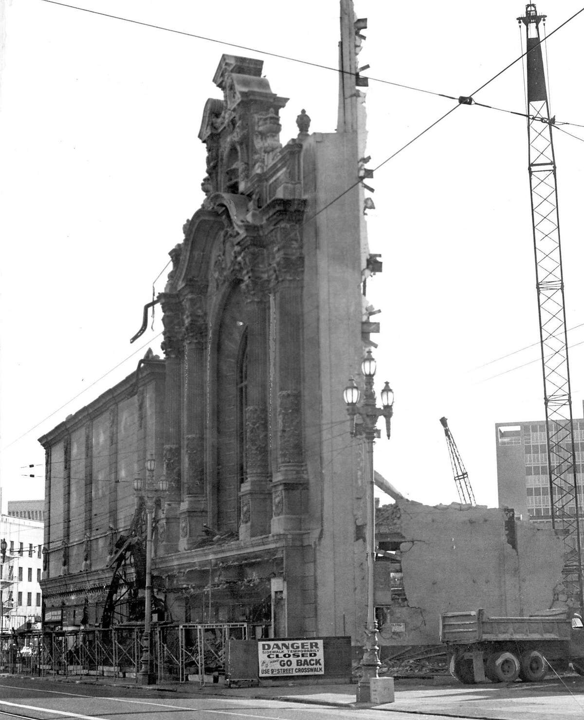 The Fox Theatre on Market Street is torn down to make way for an office building. July 26, 1963.