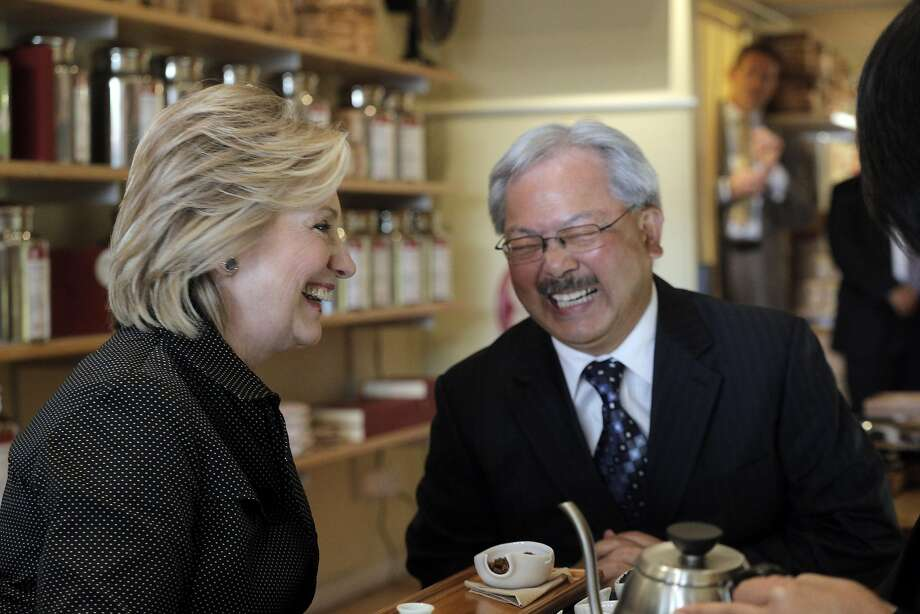 During a visit to San Francisco last year, Hillary Clinton chats with San Francisco Mayor Ed Lee, whose name is being floated as a possible Cabinet member should she win the presidency. Photo: Carlos Avila Gonzalez, The Chronicle